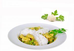 Mandel-Zucchini-Curry mit Kichererbsen