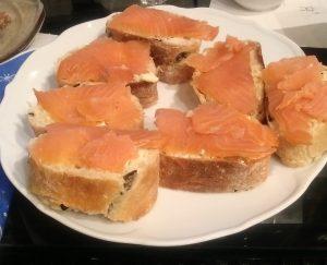 Ciabatta Brot mit Räucherlachs